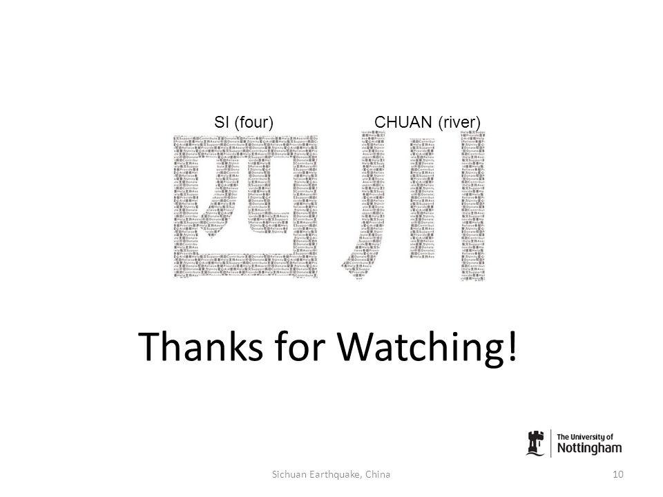 Thanks for Watching! 10Sichuan Earthquake, China SI (four)CHUAN (river)