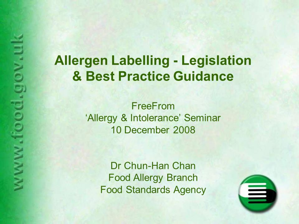 Gluten Free – the EU Regulation EU Regulation has been made under PARNUTS framework – to be implemented by end of 2008 'gluten free' = for all foods with <20ppm gluten 'very low gluten' = 21 - 100ppm gluten Food businesses will have a 3-year transition period before products have to comply Need for education for health professionals and consumers