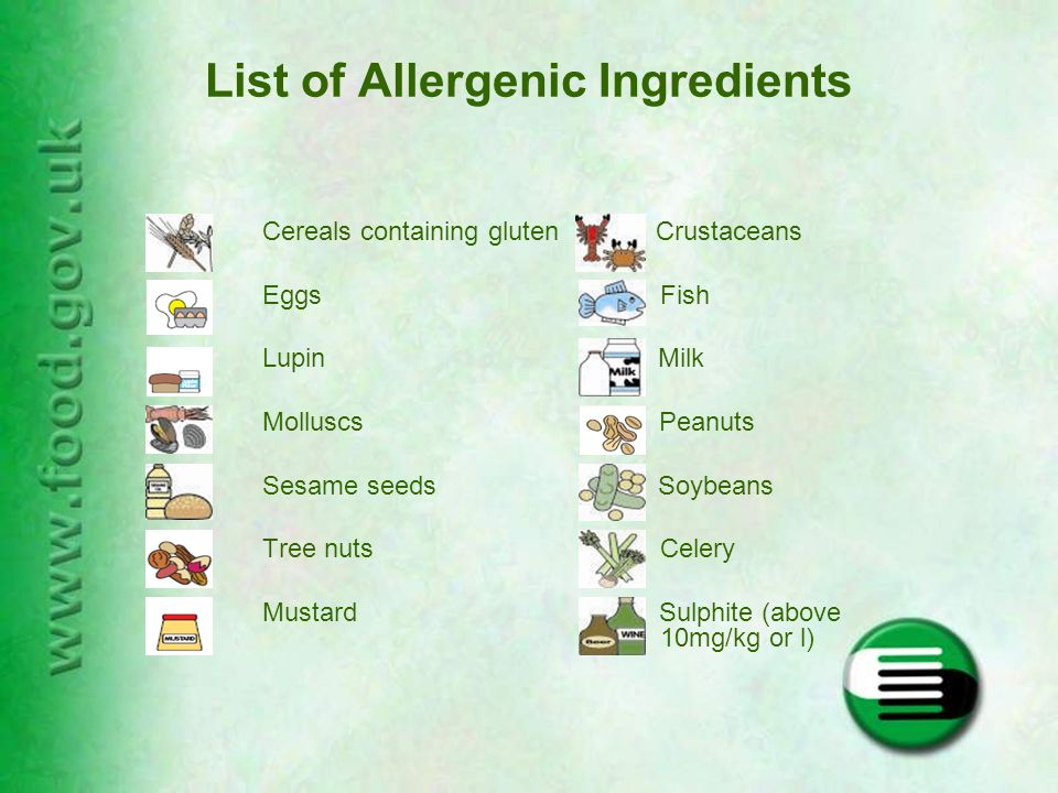 List of Allergenic Ingredients Cereals containing gluten Crustaceans Eggs Fish Lupin Milk Molluscs Peanuts Sesame seeds Soybeans Tree nuts Celery Mustard Sulphite (above 10mg/kg or l)