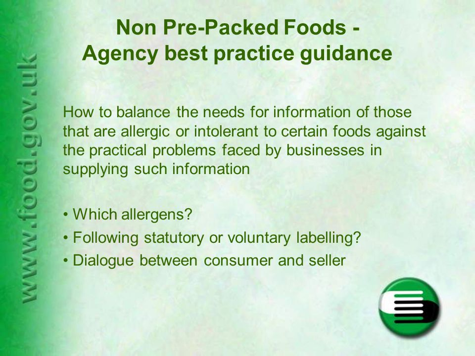 Format of the Guidance Voluntary Best Practice Guidance booklet –background information –key messages –examples of issues to consider in range of different types of businesses Leaflet for small/micro businesses Poster