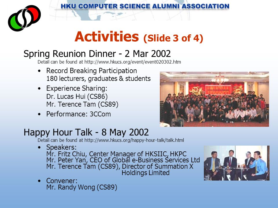 Activities (Slide 3 of 4) Spring Reunion Dinner - 2 Mar 2002 Detail can be found at http://www.hkucs.org/event/event020302.htm Record Breaking Participation 180 lecturers, graduates & students Experience Sharing: Dr.