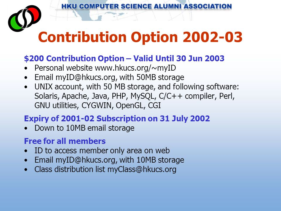 Contribution Option 2002-03 $200 Contribution Option – Valid Until 30 Jun 2003 Personal website www.hkucs.org/~myID Email myID@hkucs.org, with 50MB storage UNIX account, with 50 MB storage, and following software: Solaris, Apache, Java, PHP, MySQL, C/C++ compiler, Perl, GNU utilities, CYGWIN, OpenGL, CGI Expiry of 2001-02 Subscription on 31 July 2002 Down to 10MB email storage Free for all members ID to access member only area on web Email myID@hkucs.org, with 10MB storage Class distribution list myClass@hkucs.org