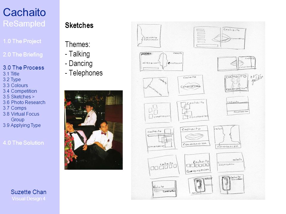 Cachaito ReSampled 1.0 The Project 2.0 The Briefing 3.0 The Process 3.1 Title 3.2 Type 3.3 Colours 3.4 Competition 3.5 Sketches 3.6 Photo Research> 3.7 Comps 3.8 Virtual Focus Group 3.9 Applying Type 4.0 The Solution Suzette Chan Visual Design 4 Photo Research