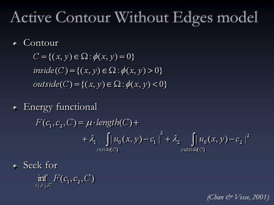 Contour Energy functional Seek for Contour Energy functional Seek for Active Contour Without Edges model (Chan & Vesse, 2001)