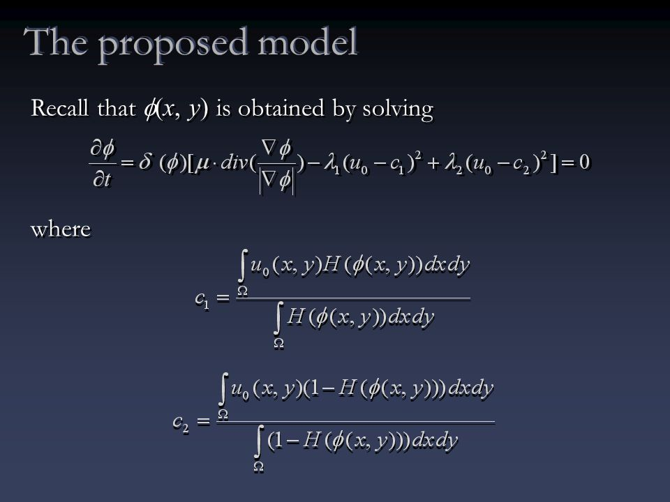 The proposed model Recall that  (x, y) is obtained by solving where