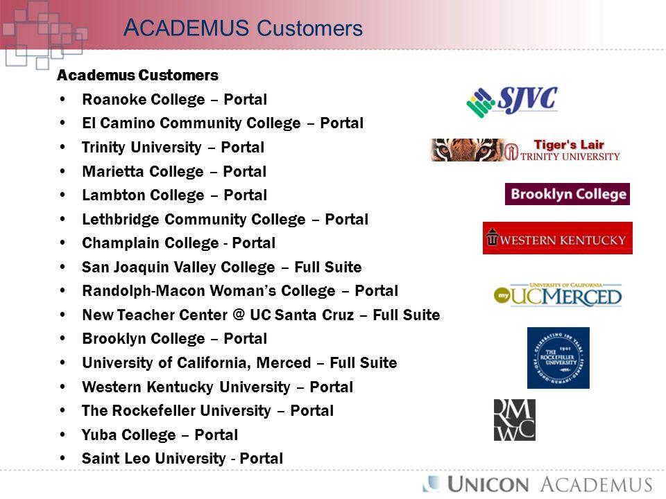 Academus Customers Roanoke College – Portal El Camino Community College – Portal Trinity University – Portal Marietta College – Portal Lambton College