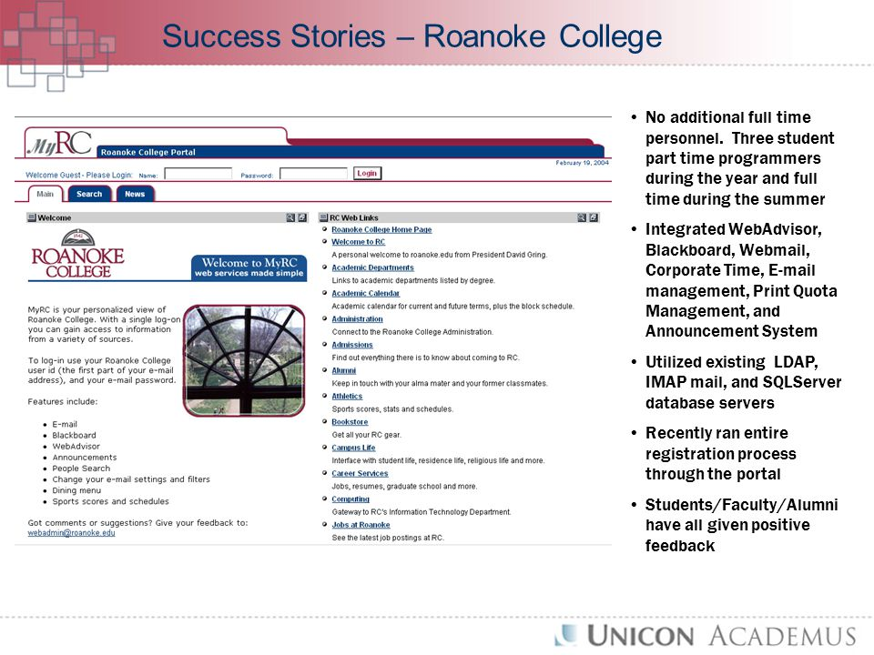 Success Stories – Roanoke College No additional full time personnel.