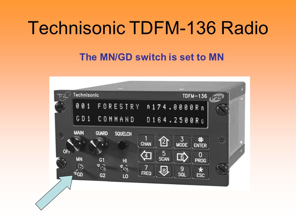 Technisonic TDFM-136 Radio The MN/GD switch is set to MN