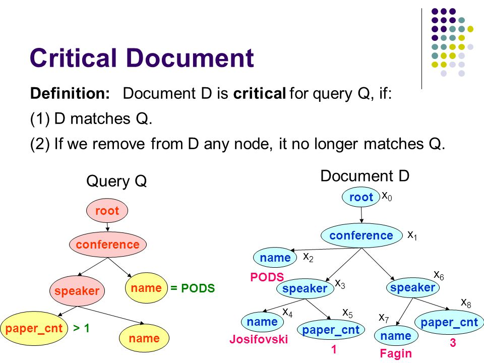 Critical Document Definition: Document D is critical for query Q, if: (1) D matches Q.