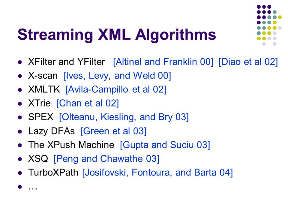 Streaming XML Algorithms XFilter and YFilter [Altinel and Franklin 00] [Diao et al 02] X-scan [Ives, Levy, and Weld 00] XMLTK [Avila-Campillo et al 02] XTrie [Chan et al 02] SPEX [Olteanu, Kiesling, and Bry 03] Lazy DFAs [Green et al 03] The XPush Machine [Gupta and Suciu 03] XSQ [Peng and Chawathe 03] TurboXPath [Josifovski, Fontoura, and Barta 04] …