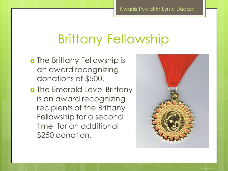 Brittany Fellowship  The Brittany Fellowship is an award recognizing donations of $500.