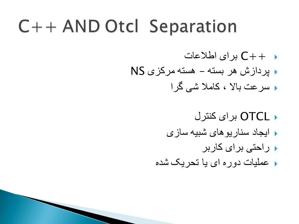  C++ برای اطلاعات  پردازش هر بسته – هسته مرکزی NS  سرعت بالا ، کاملا شی گرا  OTCL برای کنترل  ایجاد سناریوهای شبیه سازی  راحتی برای کاربر  عملیات دوره ای یا تحریک شده
