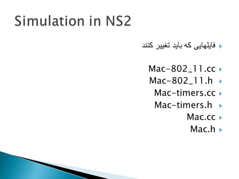  فایلهایی که باید تغییر کنند  Mac-802_11.cc  Mac-802_11.h  Mac-timers.cc  Mac-timers.h  Mac.cc  Mac.h