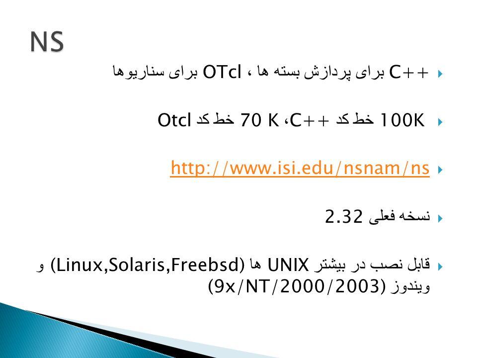  C++ برای پردازش بسته ها ، OTcl برای سناریوها  100K خط کد C++ ، 70 K خط کد Otcl  http://www.isi.edu/nsnam/ns http://www.isi.edu/nsnam/ns  نسخه فعلی 2.32  قابل نصب در بیشتر UNIX ها (Linux,Solaris,Freebsd) و ویندوز (9x/NT/2000/2003)