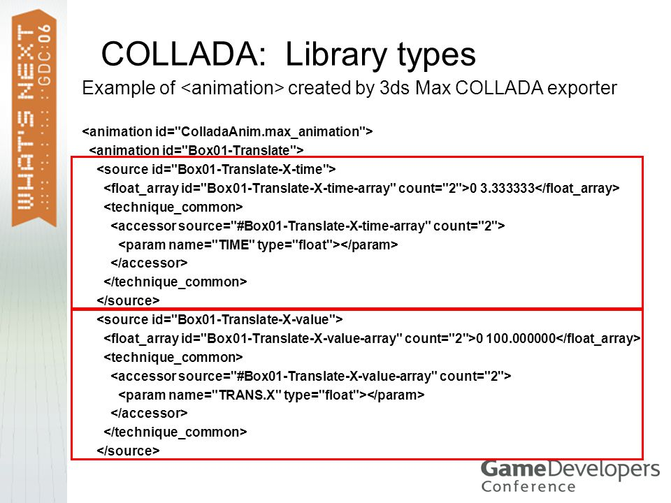 COLLADA: Library types Example of created by 3ds Max COLLADA exporter 0 3.333333 0 100.000000