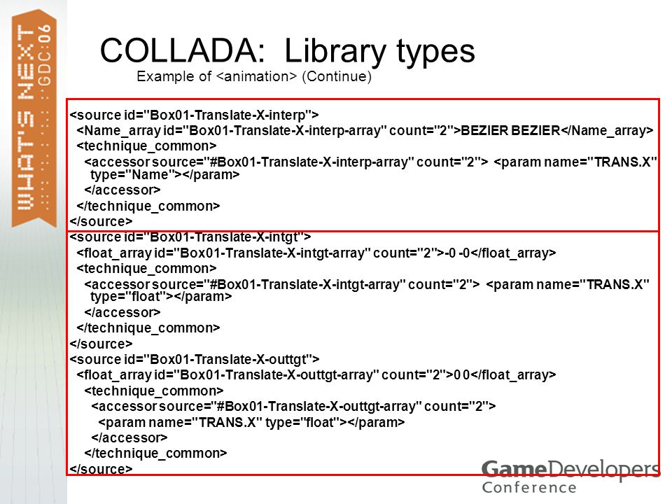 COLLADA: Library types Example of (Continue) BEZIER BEZIER -0 -0 0 0