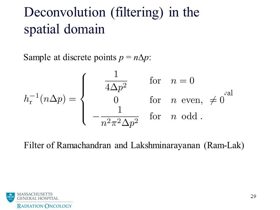 29 Deconvolution (filtering) in the spatial domain Sample at discrete points p = n  p: sampling interval Filter of Ramachandran and Lakshminarayanan (Ram-Lak)