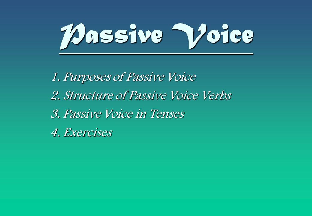 Passive Voice 1. Purposes of Passive Voice 2. Structure of Passive Voice Verbs 3. Passive Voice in Tenses 4. Exercises