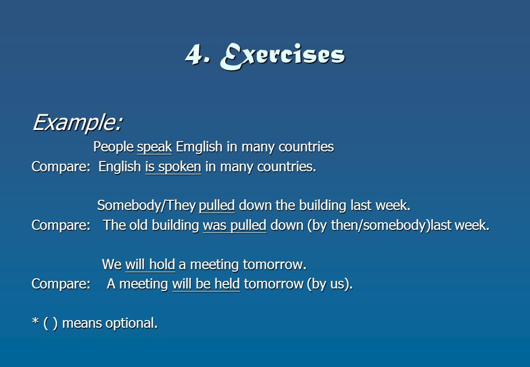 4. Exercises Example: People speak Emglish in many countries People speak Emglish in many countries Compare: English is spoken in many countries. Some