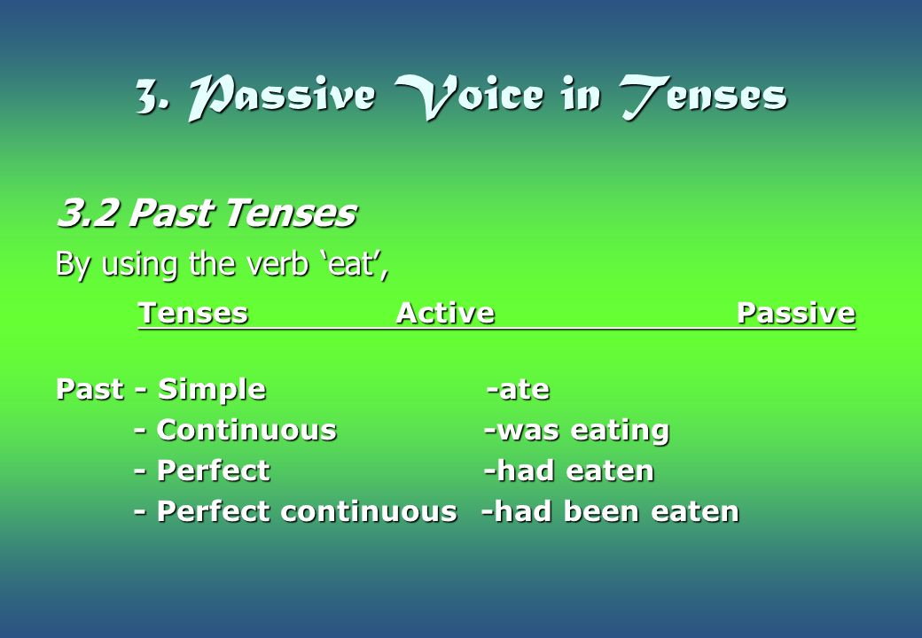 3. Passive Voice in Tenses 3.2 Past Tenses By using the verb 'eat', TensesActivePassive TensesActivePassive Past - Simple -ate - Continuous -was eatin
