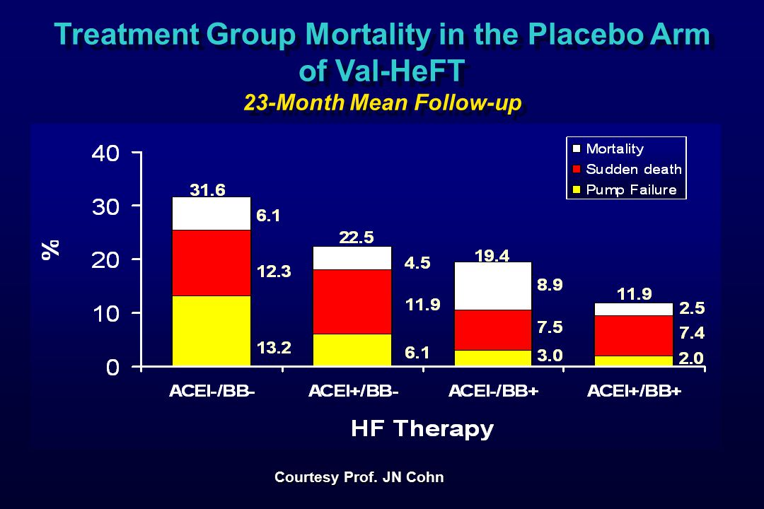 Treatment Group Mortality in the Placebo Arm of Val-HeFT 23-Month Mean Follow-up Treatment Group Mortality in the Placebo Arm of Val-HeFT 23-Month Mean Follow-up Courtesy Prof.