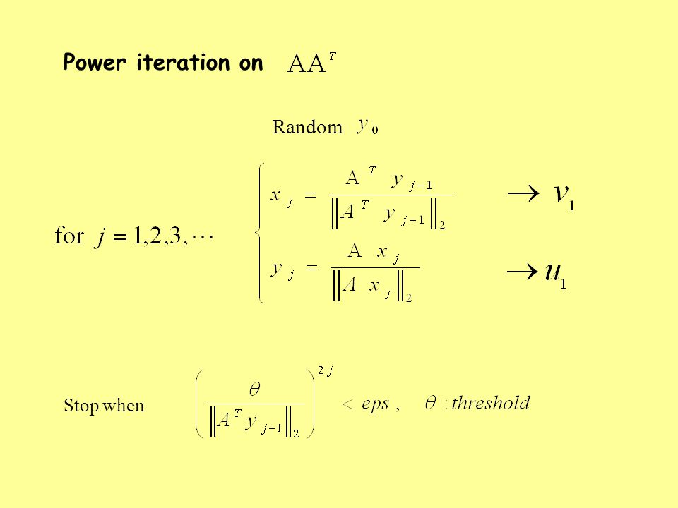 Stop when Power iteration on Random