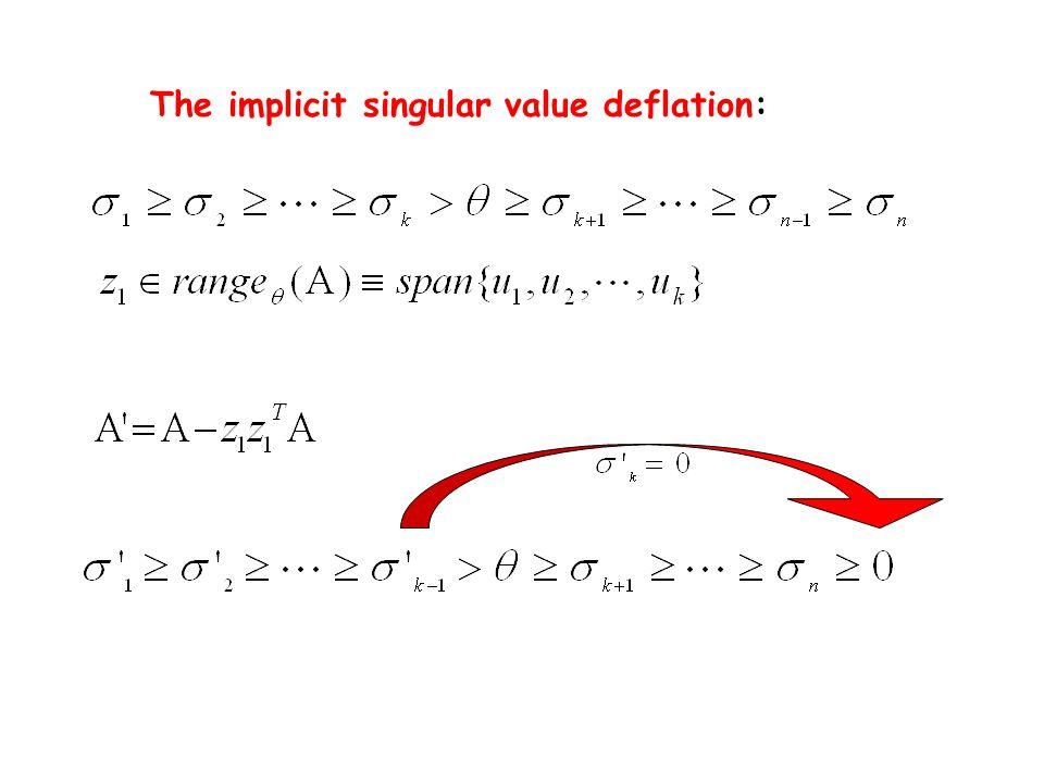The implicit singular value deflation: