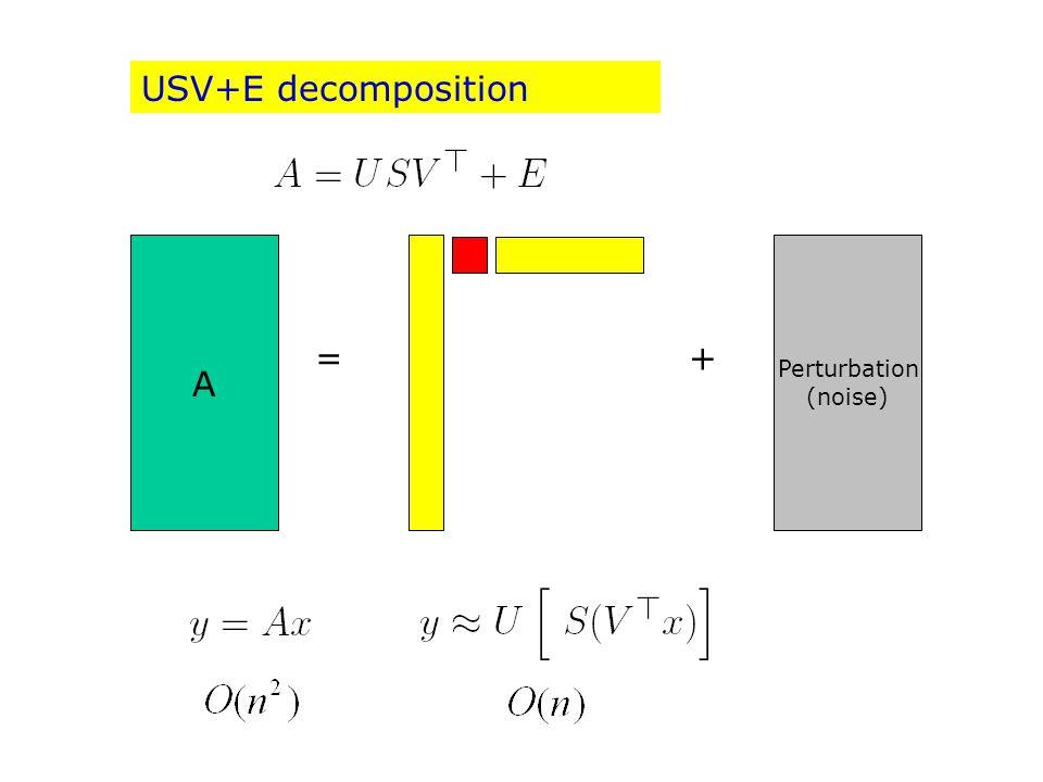 Dominant (signal) A Perturbation (noise) =+ USV+E decomposition