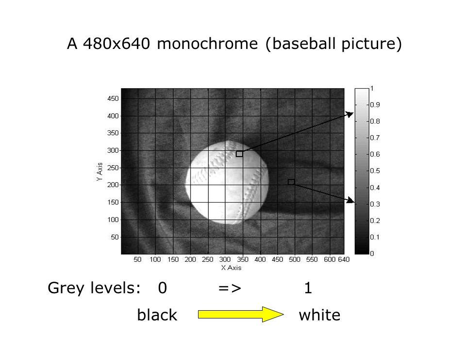 A 480x640 monochrome (baseball picture) Grey levels: 0 => 1 black white