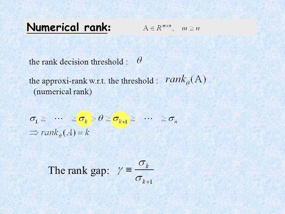 The rank gap: Numerical rank : the rank decision threshold : the approxi-rank w.r.t.
