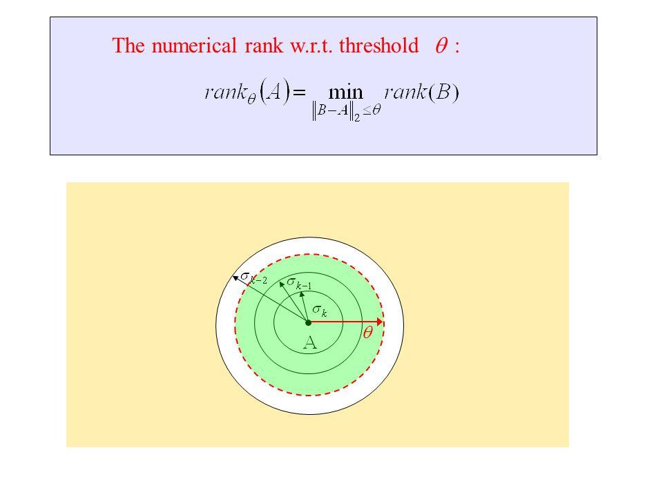 The numerical rank w.r.t. threshold :  
