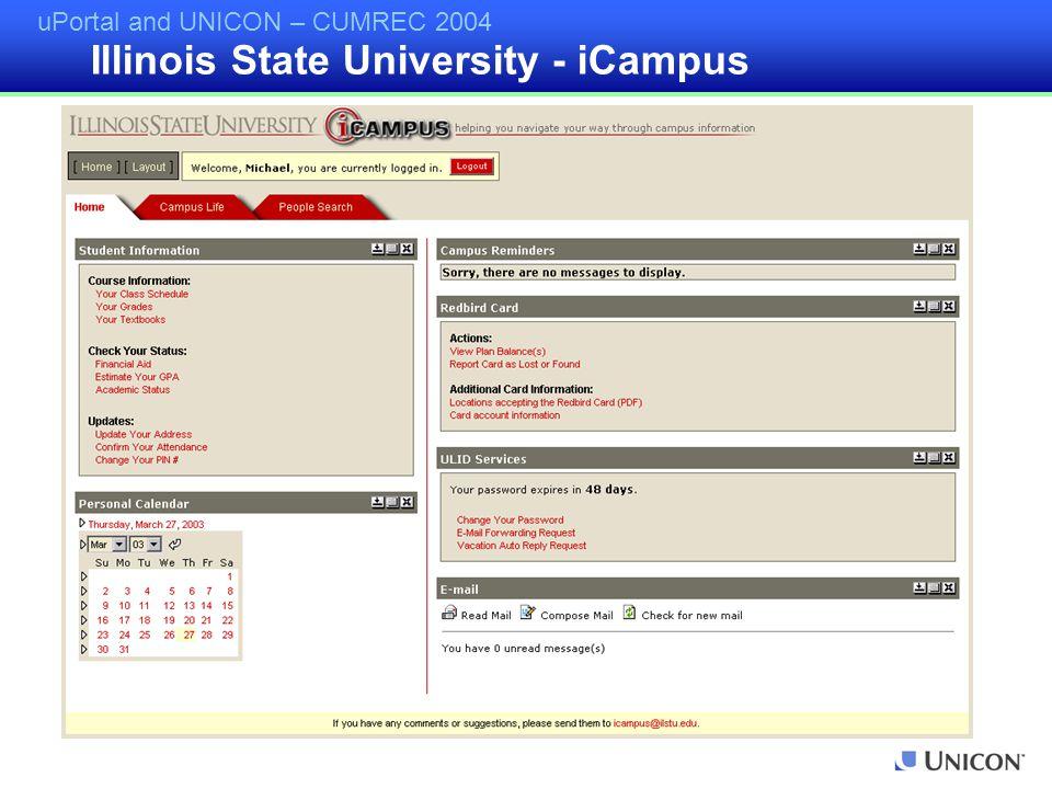 uPortal and UNICON – CUMREC 2004 Illinois State University - iCampus
