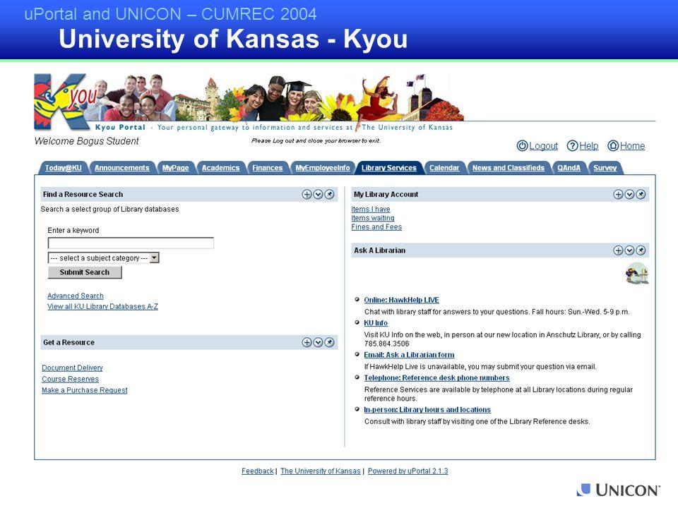 uPortal and UNICON – CUMREC 2004 University of Kansas - Kyou