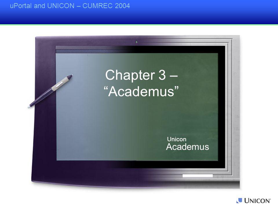uPortal and UNICON – CUMREC 2004 Chapter 3 – Academus Academus Unicon