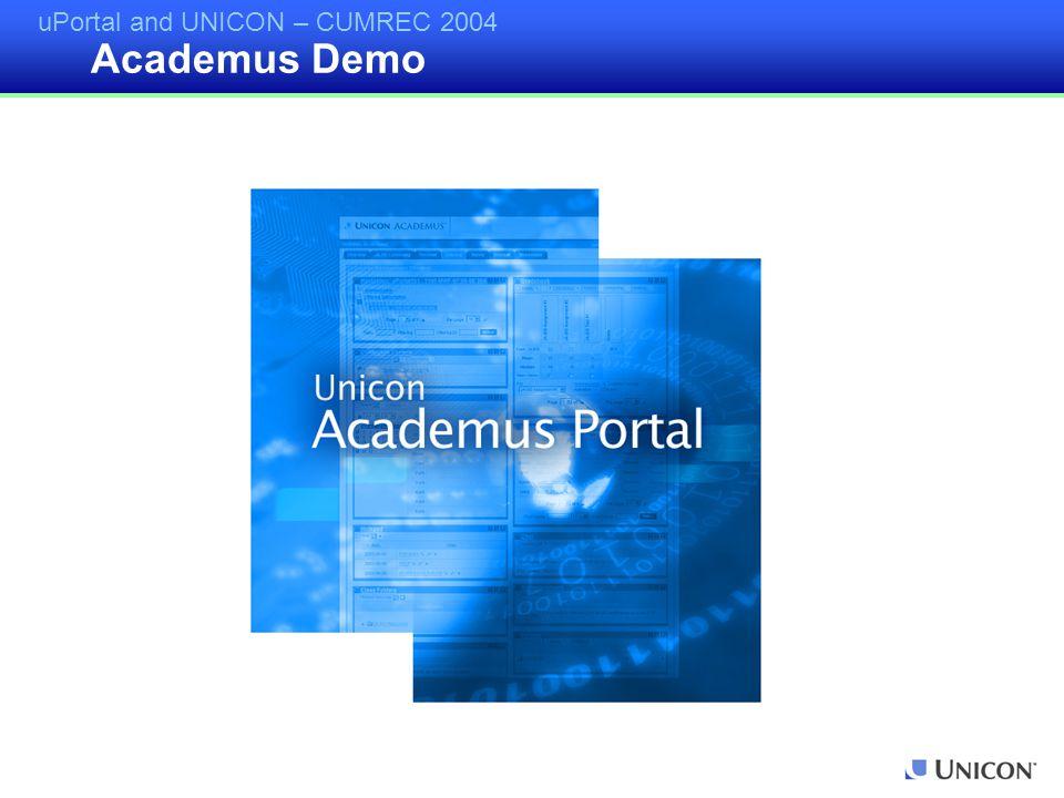 uPortal and UNICON – CUMREC 2004 Academus Demo
