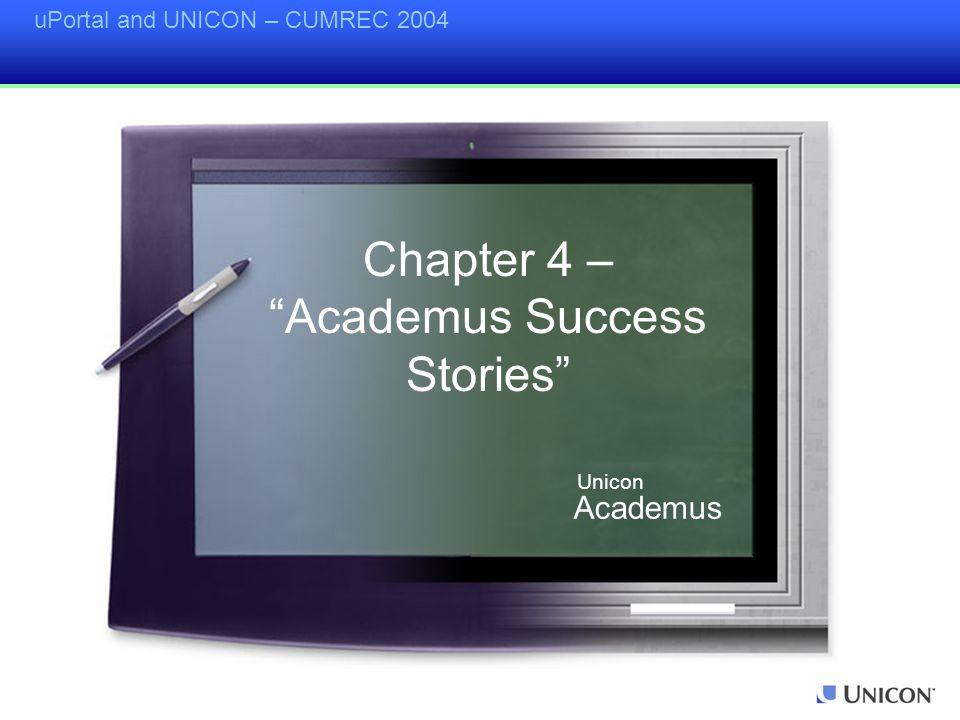 uPortal and UNICON – CUMREC 2004 Chapter 4 – Academus Success Stories Academus Unicon