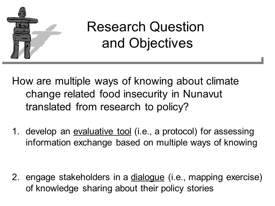 How are multiple ways of knowing about climate change related food insecurity in Nunavut translated from research to policy.