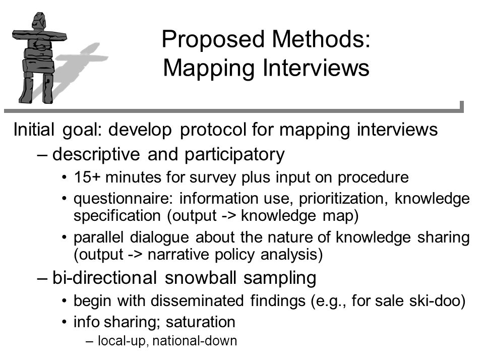 Proposed Methods: Mapping Interviews Initial goal: develop protocol for mapping interviews –descriptive and participatory 15+ minutes for survey plus input on procedure questionnaire: information use, prioritization, knowledge specification (output -> knowledge map) parallel dialogue about the nature of knowledge sharing (output -> narrative policy analysis) –bi-directional snowball sampling begin with disseminated findings (e.g., for sale ski-doo) info sharing; saturation –local-up, national-down