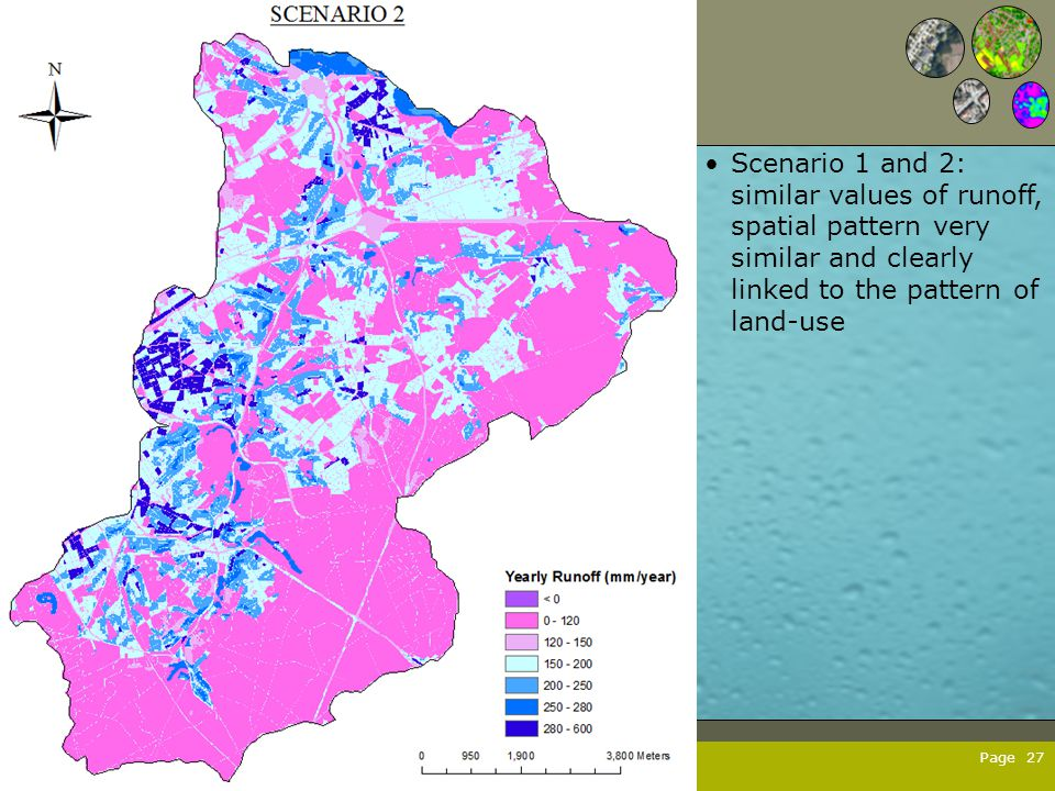 Page 27 Scenario 1 and 2: similar values of runoff, spatial pattern very similar and clearly linked to the pattern of land-use