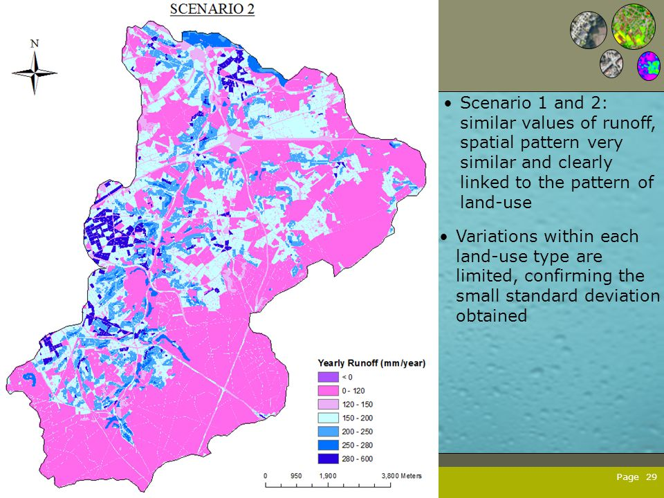 Page 29 Variations within each land-use type are limited, confirming the small standard deviation obtained Scenario 1 and 2: similar values of runoff,