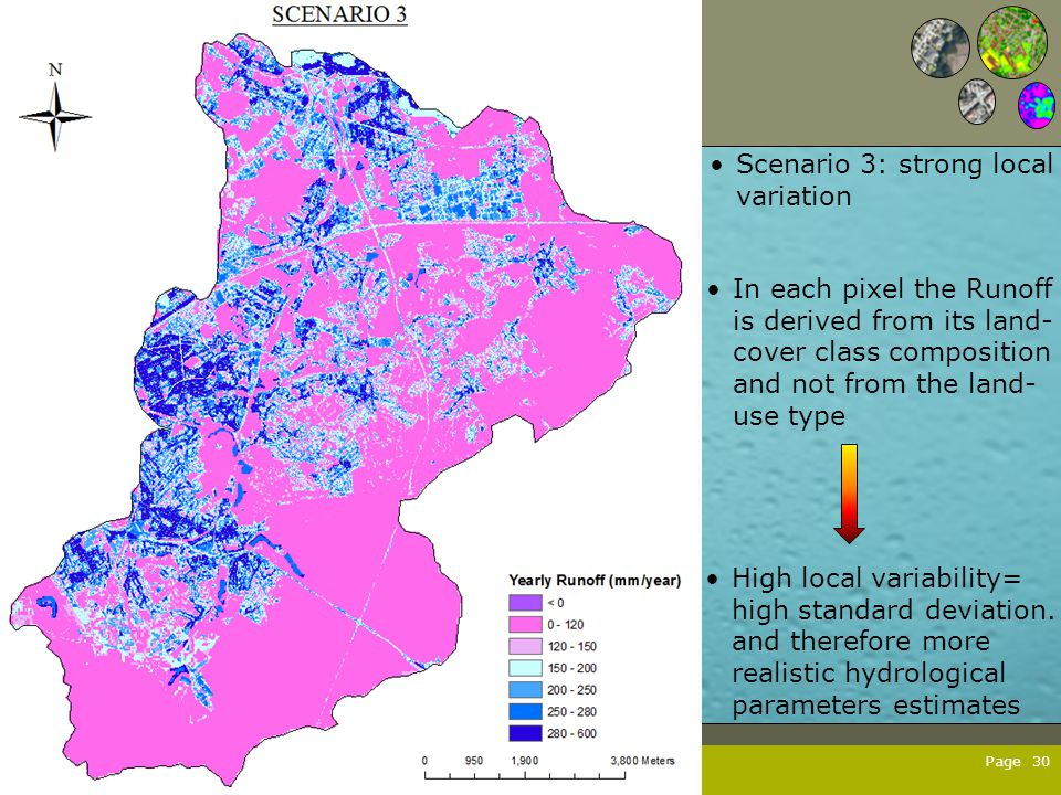 Page 30 Scenario 3: strong local variation In each pixel the Runoff is derived from its land- cover class composition and not from the land- use type High local variability= high standard deviation.