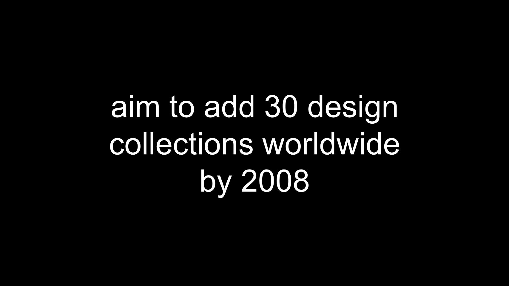 aim to add 30 design collections worldwide by 2008