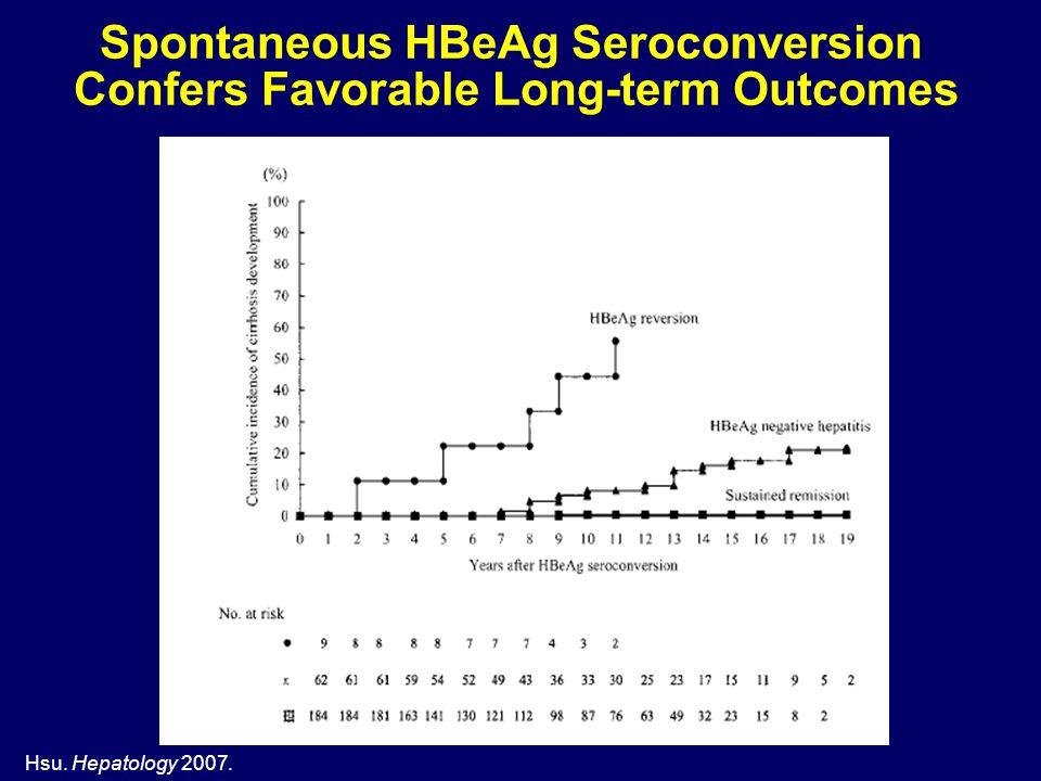Hsu. Hepatology 2007. Spontaneous HBeAg Seroconversion Confers Favorable Long-term Outcomes
