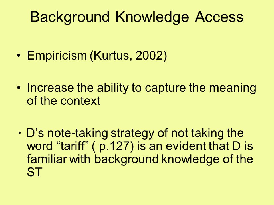 Background Knowledge Access Empiricism (Kurtus, 2002) Increase the ability to capture the meaning of the context ٠ D's note-taking strategy of not tak