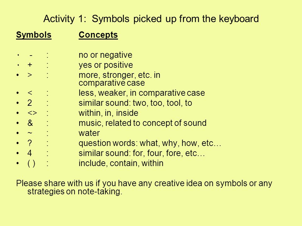 Activity 1: Symbols picked up from the keyboard Symbols Concepts ٠ -: no or negative ٠+: yes or positive >: more, stronger, etc. in comparative case <