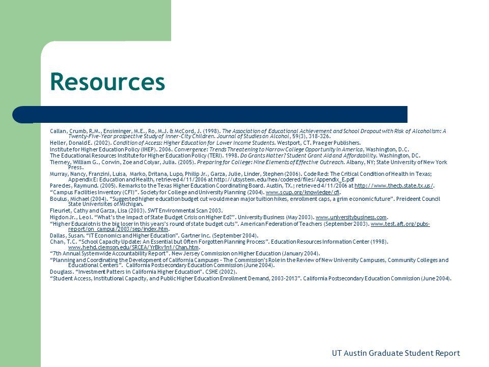 UT Austin Graduate Student Report Resources Callan, Crumb, R.M., Ensiminger, M.E., Ro, M.J.