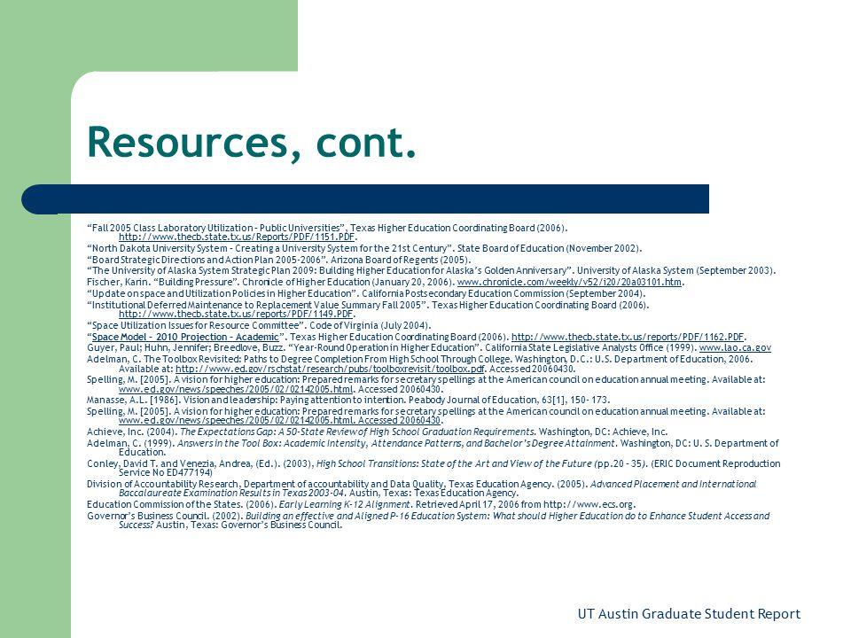UT Austin Graduate Student Report Resources, cont.