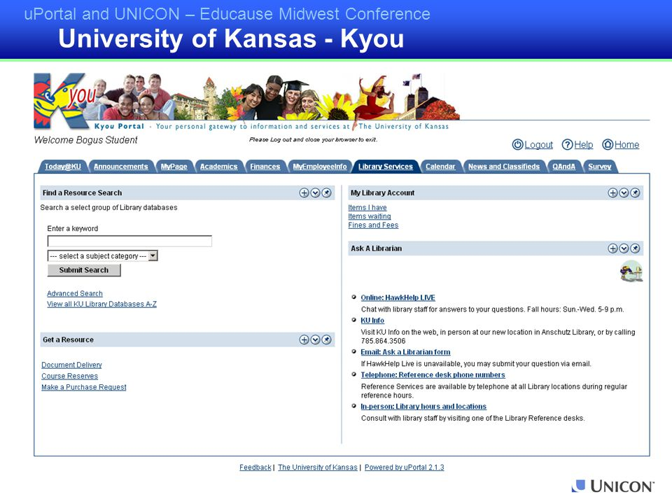 uPortal and UNICON – Educause Midwest Conference University of Kansas - Kyou