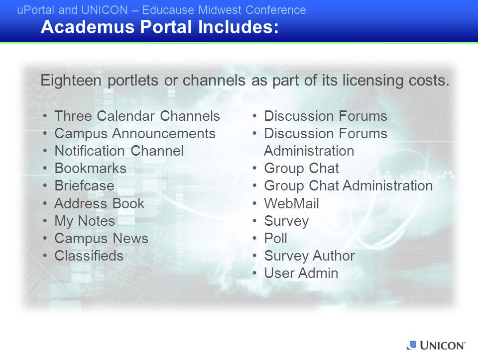 uPortal and UNICON – Educause Midwest Conference Three Calendar Channels Campus Announcements Notification Channel Bookmarks Briefcase Address Book My