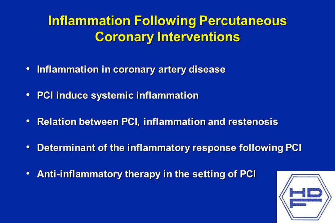 Inflammation Following Percutaneous Coronary Interventions Inflammation in coronary artery disease Inflammation in coronary artery disease PCI induce systemic inflammation PCI induce systemic inflammation Relation between PCI, inflammation and restenosis Relation between PCI, inflammation and restenosis Determinant of the inflammatory response following PCI Determinant of the inflammatory response following PCI Anti-inflammatory therapy in the setting of PCI Anti-inflammatory therapy in the setting of PCI